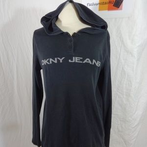 DKNY Jeans Black Hoodie Shirt Large